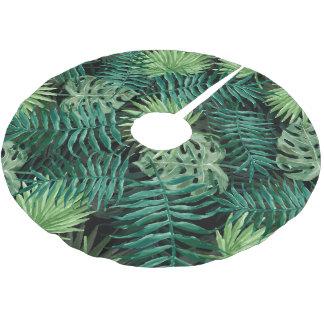 Große grüne Farn-Palme und Monstera tropische Polyester Weihnachtsbaumdecke
