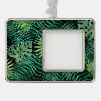 Große grüne Farn-Palme und Monstera tropische Rahmen-Ornament Silber
