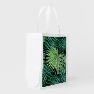 Große grüne Farn-Palme und Monstera tropische Wiederverwendbare Einkaufstasche