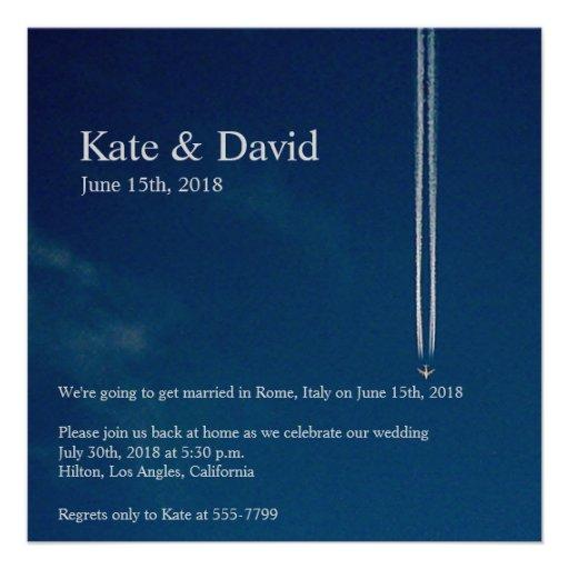 Große Höhe-Flugzeug-Hochzeit in Ankündigungskarten
