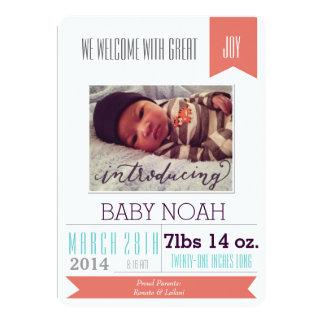 Große Jungen-Geburts-Mitteilung (Unisex) 12,7 X 17,8 Cm Einladungskarte