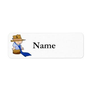 Große Krawatte u. Hut des kleinen Jungen Rücksendeetiketten