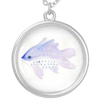 Große lila Fisch-Halskette Versilberte Kette