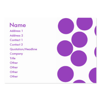 Große lila Punkte auf Weiß. Gewohnheit Mini-Visitenkarten