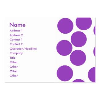 Große lila Punkte auf Weiß. Gewohnheit Visitenkarten Vorlagen
