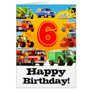 Große LKW-6. Geburtstags-Party Karte