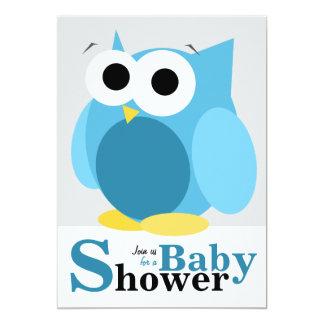Große lustige blaue Eulen-Babyparty-Einladungen
