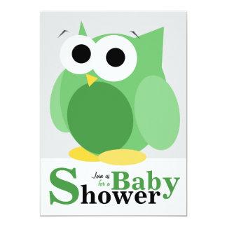 Große lustige grüne Eulen-Babyparty-Einladungen 12,7 X 17,8 Cm Einladungskarte