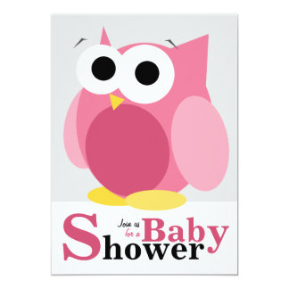 Große lustige rosa Eulen-Babyparty-Einladungen 12,7 X 17,8 Cm Einladungskarte
