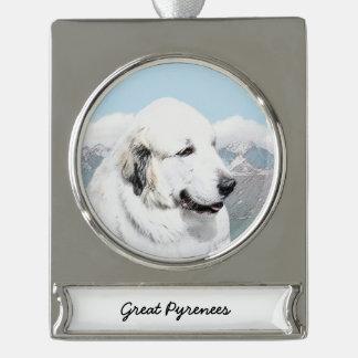 Große malende Pyrenäen - ursprüngliche Hundekunst Banner-Ornament Silber
