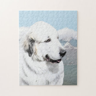 Große malende Pyrenäen - ursprüngliche Hundekunst Puzzle