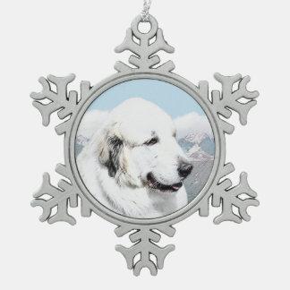 Große malende Pyrenäen - ursprüngliche Hundekunst Schneeflocken Zinn-Ornament