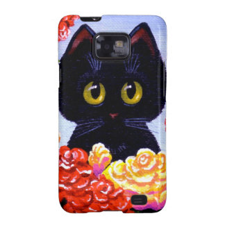 Große mit Augen lustige schwarze Katzen-Rosen-Blum Galaxy S2 Hülle