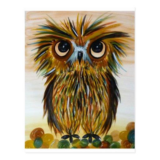 Große mit Augen wild lebende Tiere der Shaggy Eule Postkarte