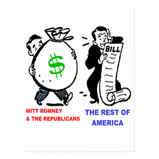 Große Moneybags Mitt Romney gegen Postkarte