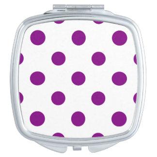 Große Polka-Punkte - lila auf Weiß Taschenspiegel