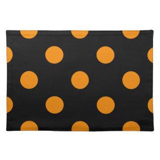 Große Polka-Punkte - Mandarine auf Schwarzem Tischset
