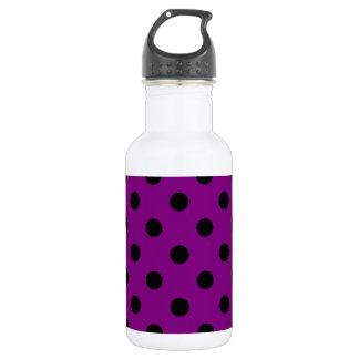Große Polka-Punkte - Schwarzes auf Lila Trinkflasche