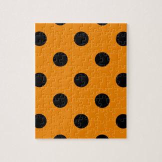 Große Polka-Punkte - Schwarzes auf Mandarine Puzzle