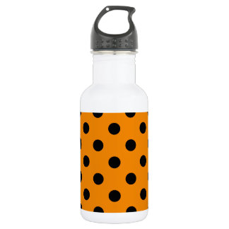 Große Polka-Punkte - Schwarzes auf Mandarine Trinkflasche