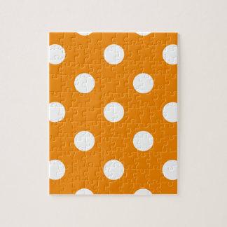 Große Polka-Punkte - Weiß auf Mandarine Puzzle