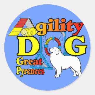 Große Pyrenäen-Agility-Geschenke Runder Aufkleber