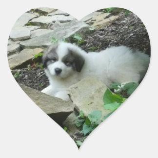 Große Pyrenäen-Bonbon-Welpe Herz-Aufkleber