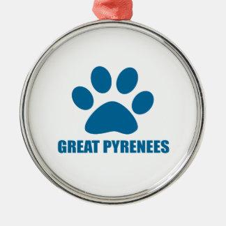 GROSSE PYRENÄEN-HUNDEentwürfe Silbernes Ornament