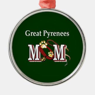 Große Pyrenäen-Mamma Silbernes Ornament