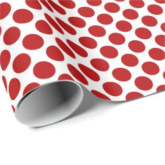 Große Retro Punkte - Rot und Weiß Geschenkpapier