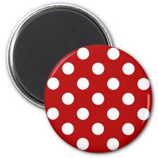 Große Retro Punkte - Rot und Weiß Runder Magnet 5,1 Cm