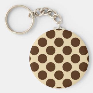 Große Retro Punkte - schokoladenbraun und tan Schlüsselanhänger
