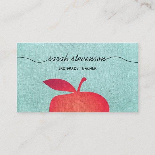 Große Rote Apple Schullehrer Bildung Visitenkarte Zazzle De