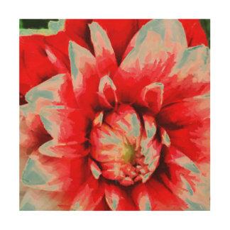 Große rote Blume Holzwanddeko