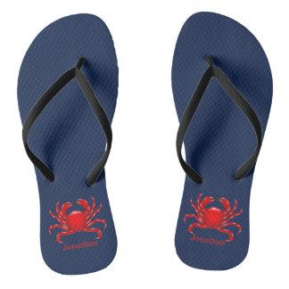 Große rote Krabbe zurück zu Flip Flops