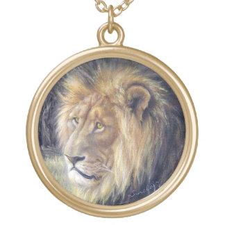 Große runde Goldtone Löwe-Halskette Vergoldete Kette