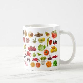 große Sammlung Obst und Gemüse Kaffeetasse