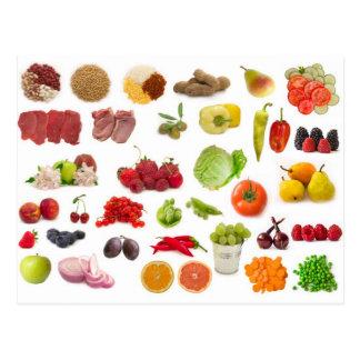 große Sammlung Obst und Gemüse Postkarte