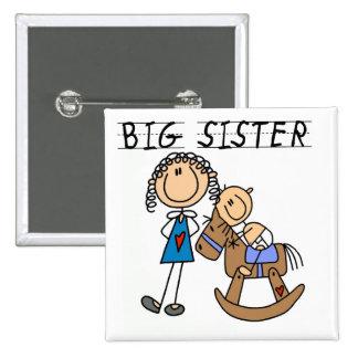 Große Schwester-Baby-Bruder-T-Shirts und Geschenke Quadratischer Button 5,1 Cm