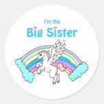 große Schwester des Einhorns Runder Sticker