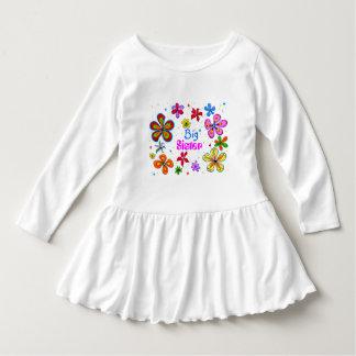 Große Schwester-flippige Retro Blumenkunst Tshirt