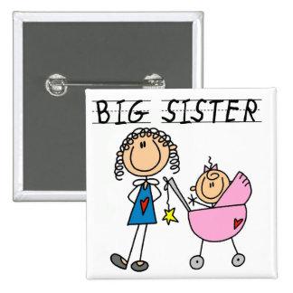 Große Schwester mit kleine Schwester-T-Shirts und  Quadratischer Button 5,1 Cm