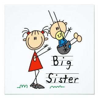 Große Schwester mit kleiner Bruder-Geschenken Quadratische 13,3 Cm Einladungskarte