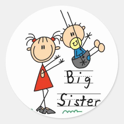 Große Schwester mit kleiner Bruder-T-Shirts und Runder Aufkleber