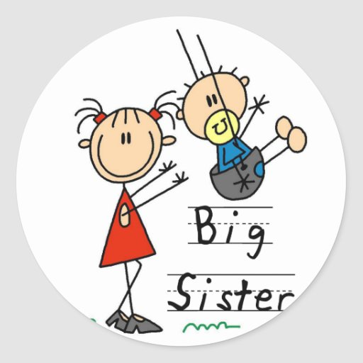 Große Schwester mit kleiner Bruder-T-Shirts und Ge Runder Aufkleber