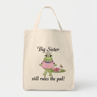 Große Schwester ordnet die Auflage-T-Shirts an Einkaufstaschen