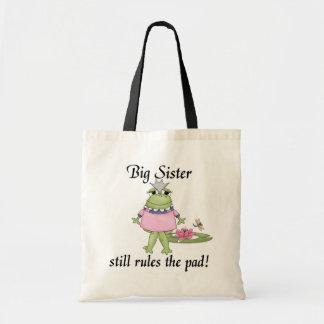 Große Schwester ordnet die Auflage-T-Shirts an Einkaufstasche