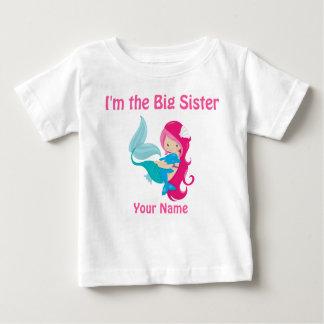 Große Schwester-Rosa-Meerjungfrau-personalisiertes Baby T-shirt