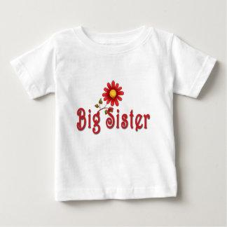 Große Schwester-Rot-Blume Baby T-shirt