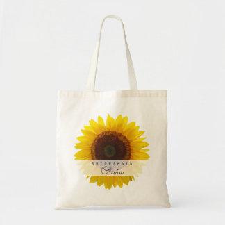 Große Sonnenblume-Brautjungfern-personalisierte Tragetasche